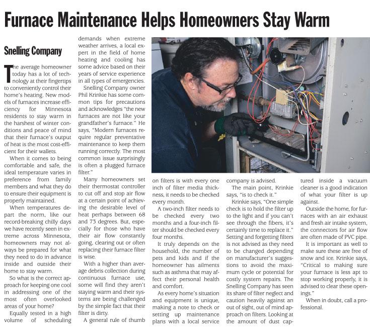 Furnace Maintenance Helps Homeowners Stay Warm